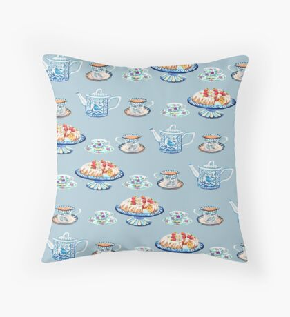 Jane Austen Tea and cake lovers in blue Throw Pillow
