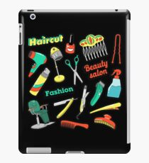 Hair Beauty Salon Patches, Badges, Stickers with Scissors and Comb. Vector Doodle iPad Case/Skin