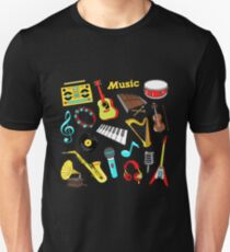 Musical Instruments Doodle for Scrapbook, Stickers, Patches, Badges with Guitar, Drum and Vinyl. T-Shirt