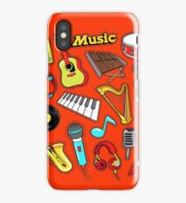 Musical Instruments Doodle for Scrapbook, Stickers, Patches, Badges with Guitar, Drum and Vinyl. iPhone Case/Skin