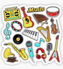 Musical Instruments Doodle for Scrapbook, Stickers, Patches, Badges with Guitar, Drum and Vinyl. Sticker