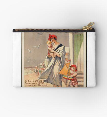 Belgium Vintage Travel Advertisement Art Poster Zipper Pouch