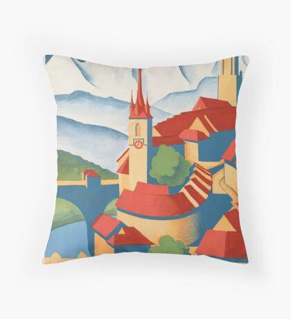 Berne Switzerland Vintage Travel Advertisement Art Poster Throw Pillow