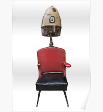Vintage Retro Barber Hair Dryer And Chair Poster