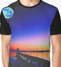 Golden Sunset with Full Moon Graphic T-Shirt