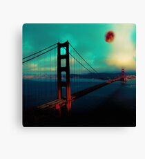 Heaven on Earth Series - Blood Moon Over Golden Gate Bridge, ca 2017, by Adam Asar 2 Canvas Print