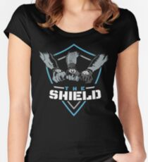The Shield Blue-White [Available in 10 colors] Women's Fitted Scoop T-Shirt