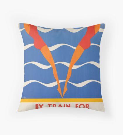 Vintage Travel Advertisement Art Poster Throw Pillow