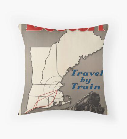 Boston Vintage Travel Advertisement Art Poster Throw Pillow