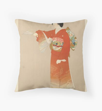Japan Vintage Travel Advertisement Art Poster Throw Pillow