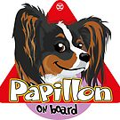 Papillon On Board - Tricolor by DoggyGraphics