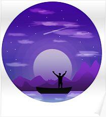 Landscape night illustration Poster