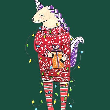 Super Cute Christmas Unicorn by DoodlesAndStuff