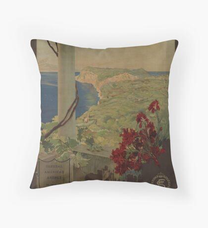 Capri Napoli Vintage Travel Advertisement Art Poster Throw Pillow