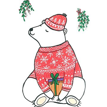 Cute Christmas Polar Bear by DoodlesAndStuff