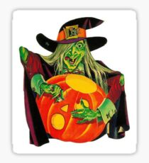 WITCH CARVING PUMPKIN Sticker