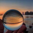 Sunrise though a crystal ball on Chicago's lakefront  by Sven Brogren