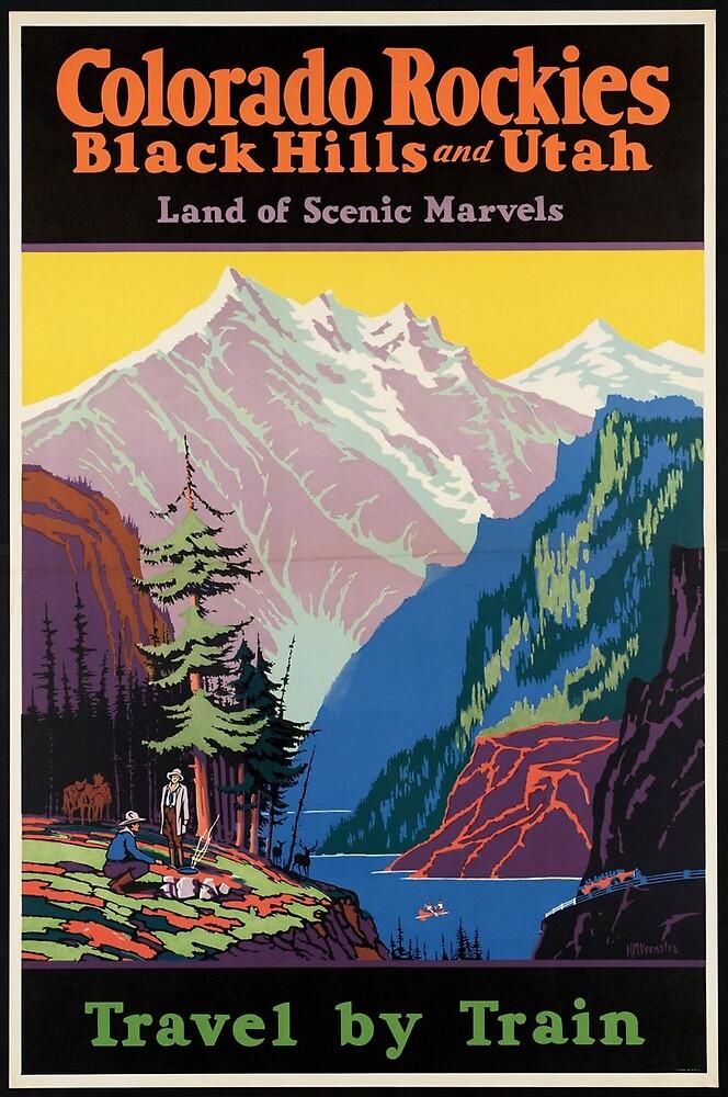 Train Utah Colorodo Rockies Vintage Travel Advertisement Art Poster by jnniepce