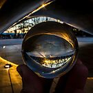 A crystal ball view of Chicago's bean at sun rise by Sven Brogren