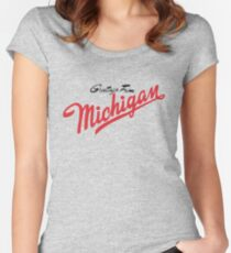 Greetings From Michigan! (Minimalist) Women's Fitted Scoop T-Shirt