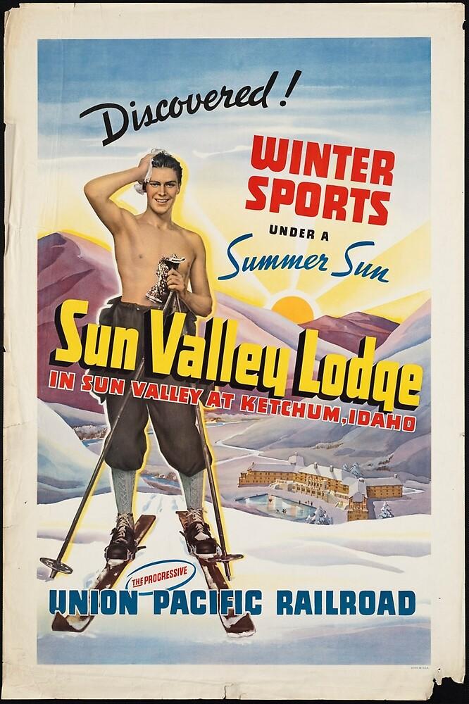 Vintage Ski Union Pacific Railroad Idaho Travel Advertisement Art Poster by jnniepce