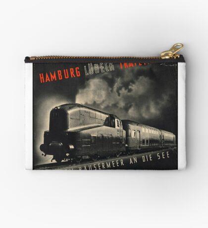 Hamburg Train Vintage Travel Advertisement Art Poster Zipper Pouch