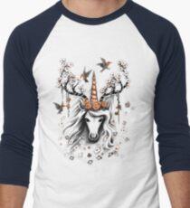 Deer Unicorn Flowers Men's Baseball ¾ T-Shirt