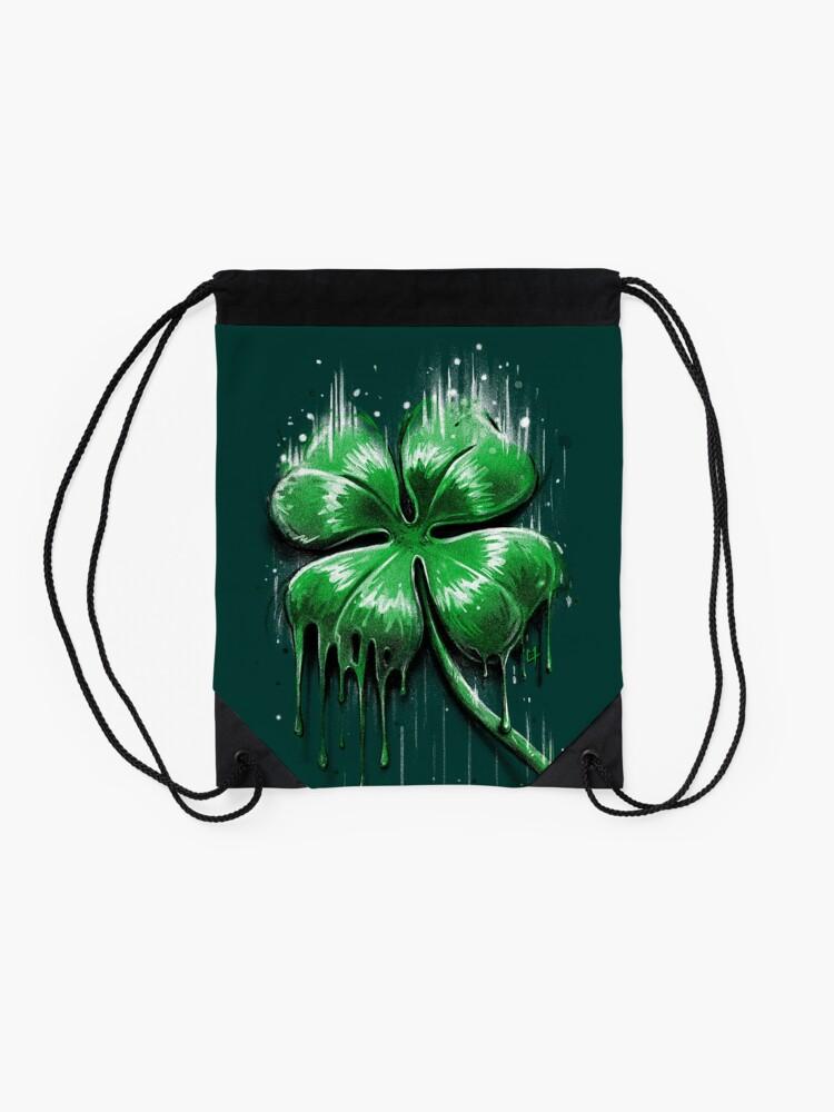 Alternate view of Four Leaf Clover Drawstring Bag