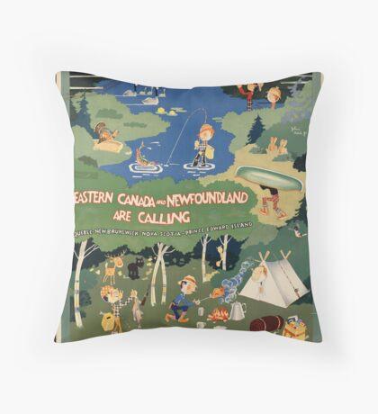 Canada Newfoundland Vintage Travel Advertisement Art Poster Throw Pillow