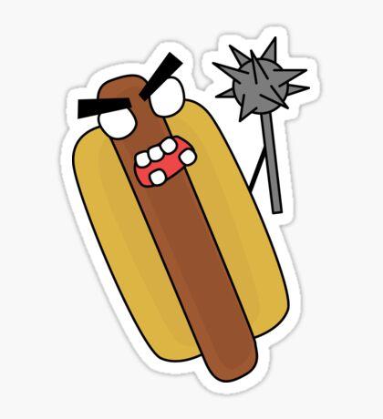 angry zombie hotdog Glossy Sticker