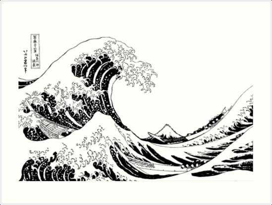 The great wave of kanagawa under the wave of kanagawa katsushika hokusai black n white - Vague coloriage ...