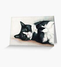 Cozy Tuxedo Cat Greeting Card
