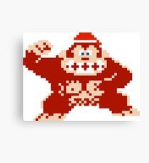 Merry Christmas Hat Donkey Kong Canvas Print
