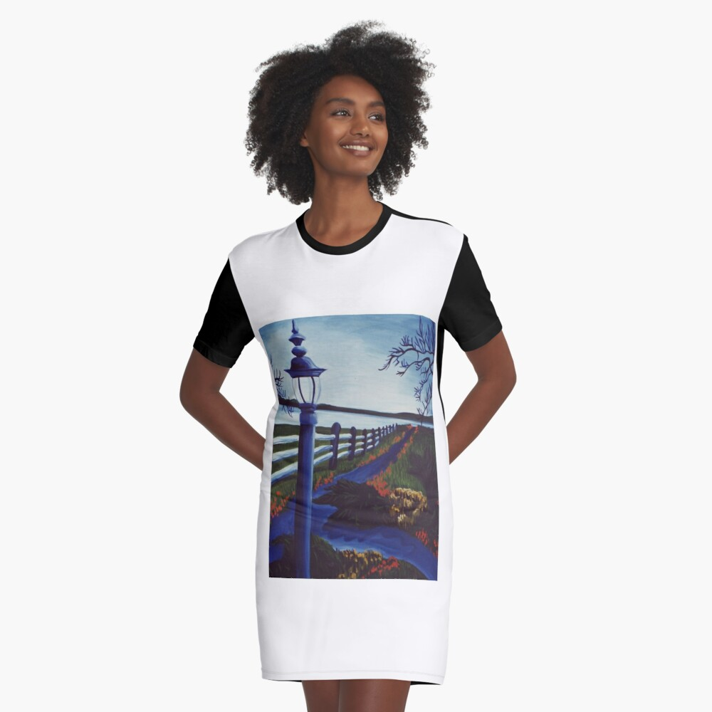 Garden on the Lake Graphic T-Shirt Dress Front