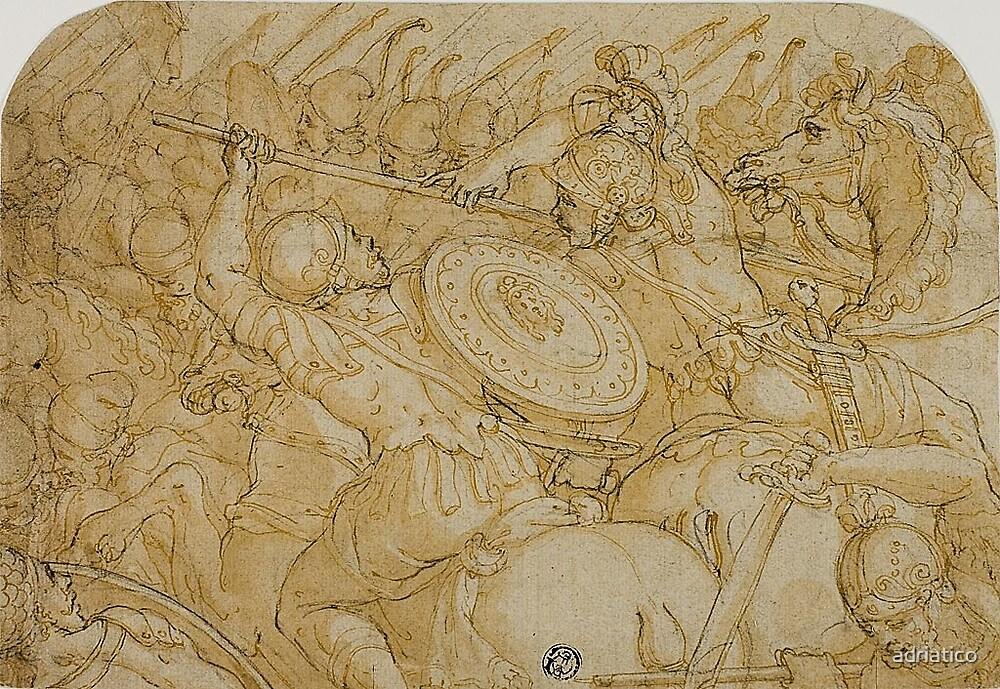 Vasari Giorgio-Cavalry Skirmish 1558 - ORIGINAL DRAWING by adriatico