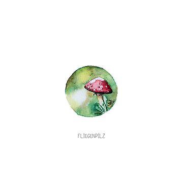 Fliegenpilz, Miniatur Aquarell von farbcafe