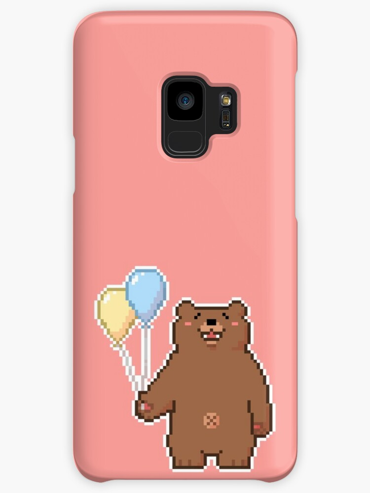 pixel bear with balloons cases skins for samsung galaxy by