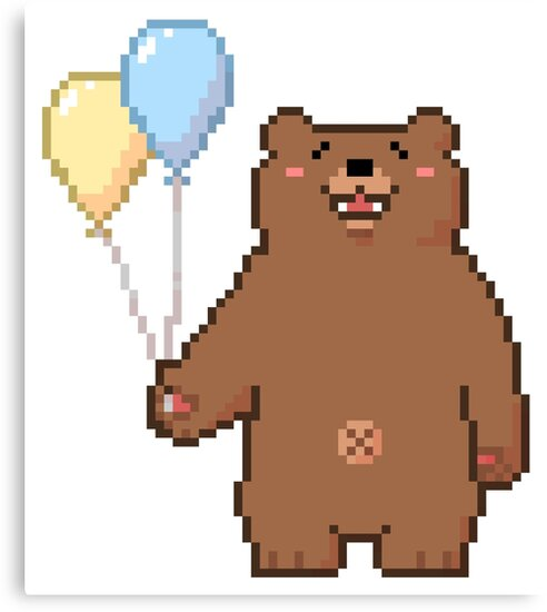 pixel bear with balloons canvas prints by comedic redbubble