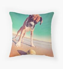 Beach Boxer Dog Throw Pillow