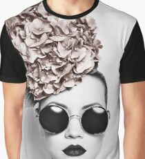 Fashion woman face with flowers Graphic T-Shirt