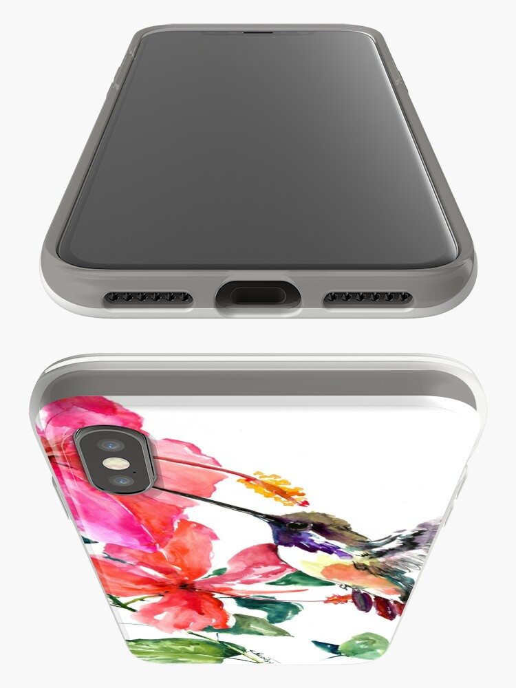 Vista alternativa de Funda y vinilo para iPhone Colibrí y flores de hibisco