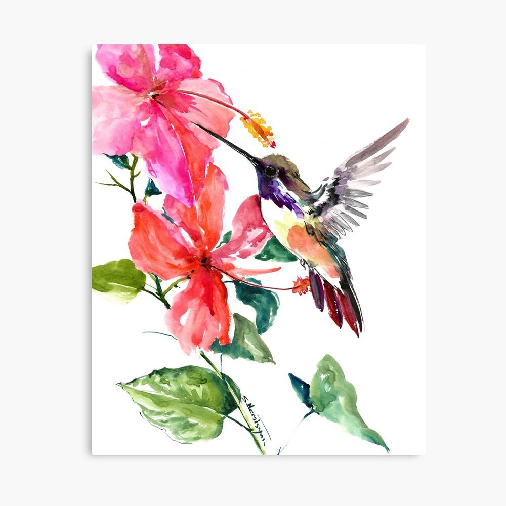 Colibrí y flores de hibisco Lienzo