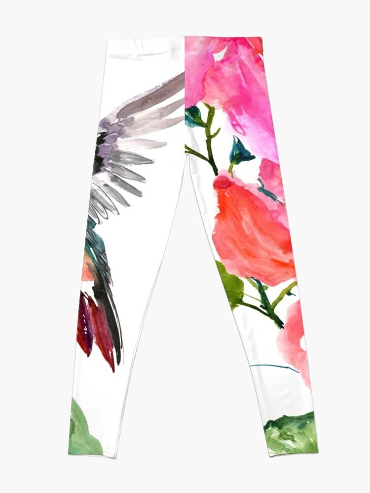 Vista alternativa de Leggings Colibrí y flores de hibisco