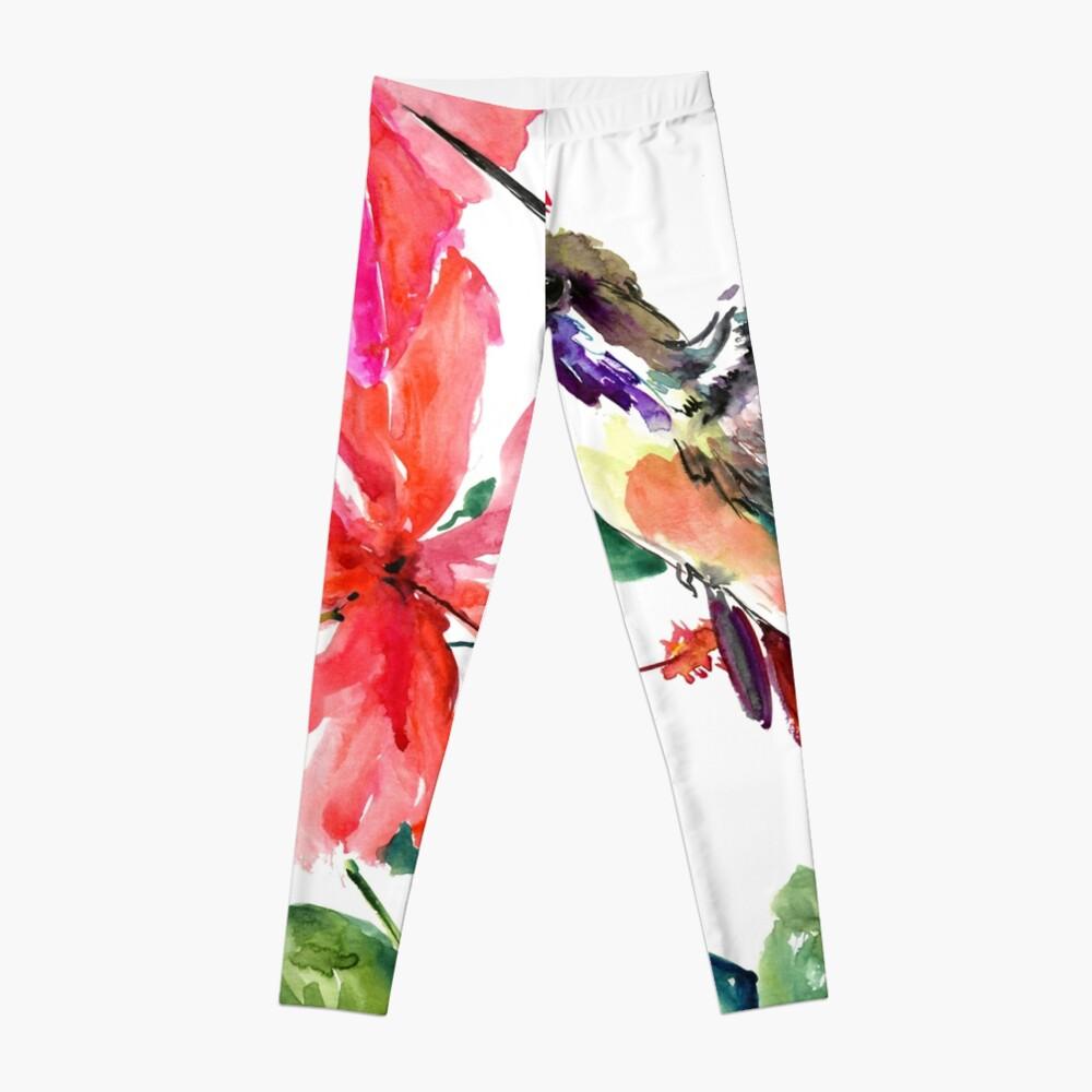 Colibrí y flores de hibisco Leggings