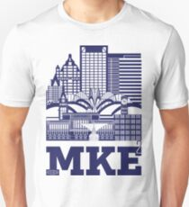 """Milwaukee Squared"" Skyline DARK BLUE Unisex T-Shirt"