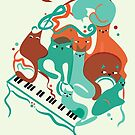 Jazz Cats Blue and Brown by prouddaydreamer