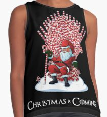 Christmas Is Coming Santa Candy Cane Throne T-Shirt Contrast Tank