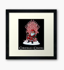 Christmas Is Coming Santa Candy Cane Throne T-Shirt Framed Print