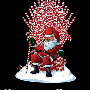 Christmas Is Coming Santa Candy Cane Throne T-Shirt by urbnduck