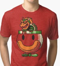 Super Mario World SNES Bowser Koopa Super Nintendo 16-Bit Tri-blend T-Shirt